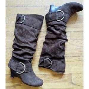 Naughty Monkey Boots, Brown, Buckle, Wedge